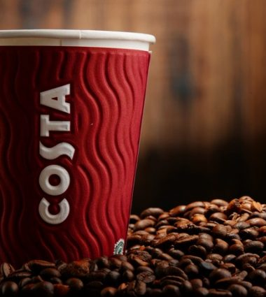 Poznan, Poland - January 29, 2016: Costa Coffee is a British multinational coffeehouse company headquartered in Dunstable, Bedfordshire; second largest coffeehouse chain in the world.